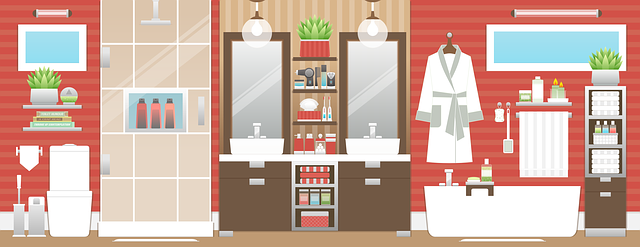 kreslená koupelna plně zařízená s červenou stěnou